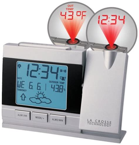 la crosse technology wt 5442 bp projection alarm clock with forecast weather clocks patio