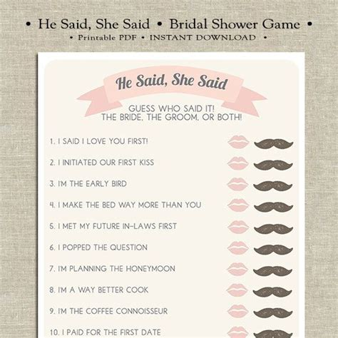 he said she said the 1444797158 he said she said printable bridal shower game choose the bride or groom moustache and lips