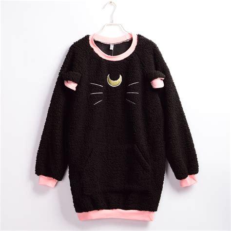 pattern hoodie sweet harajuku lolita cat pattern hoodie anime sailor moon