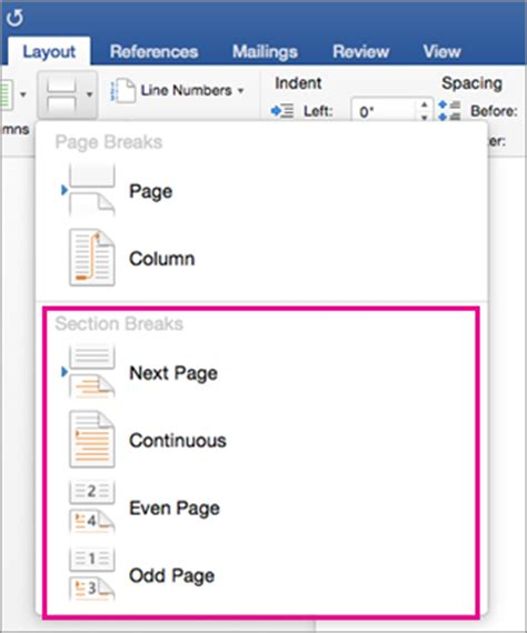 insert a section break microsoft office tutorials add section breaks in word