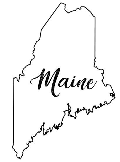 state outline maine fancy poster  nicole owens