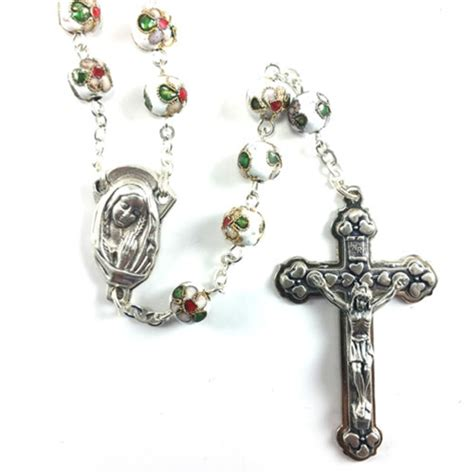 cloisonne rosary cloisonne white bead rosary