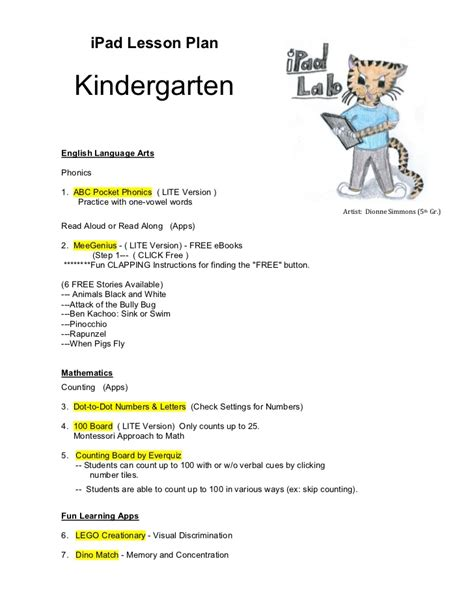 lesson plan template kindergarten sle lesson plan for kindergarten language arts