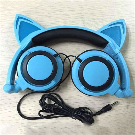 Headset Nekomimi ear cat headphones japan nekomimi led kawaii axent style glowing blue ebay