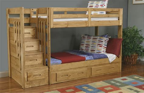 plans for bunk beds with storage stairs