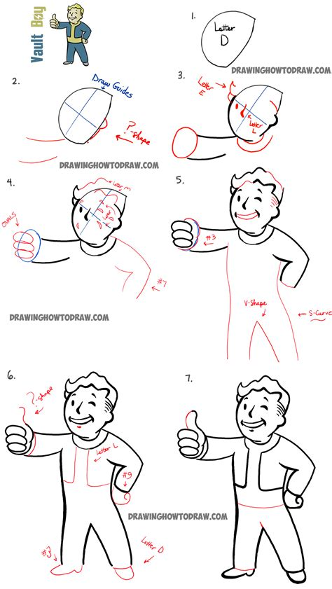 Sketches Step By Step by How To Draw Fallout Vault Boy With Easy Step By Step