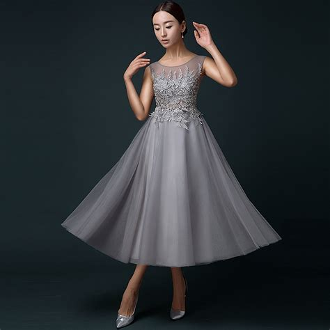 tea length cocktail dresses homecoming tea length gray prom dress plunging back appliques tulle