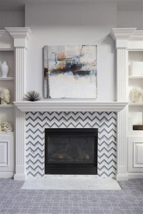 chevron fireplace surround transitional living room