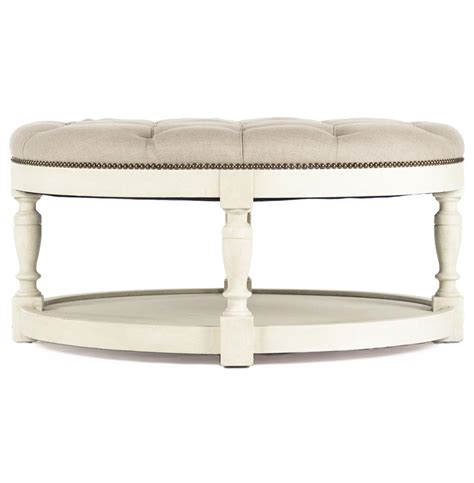 tufted coffee table ottoman marseille french country cream ivory linen round tufted