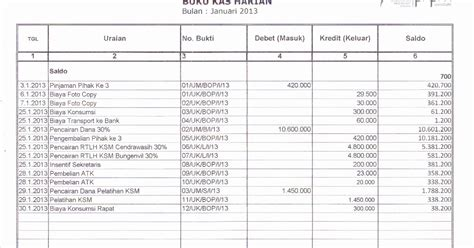 contoh format buku kas harian sekolah buku kas harian periode januari 2013 lkm salemba jaya
