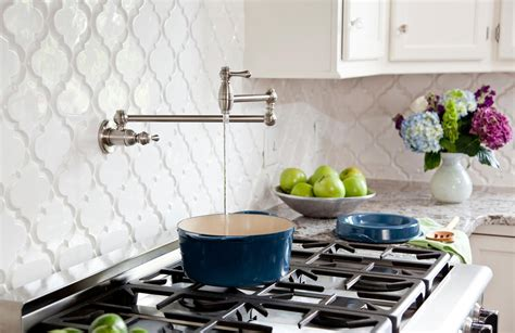 arabesque tile backsplash create thrilling ambience in your kitchen with beveled