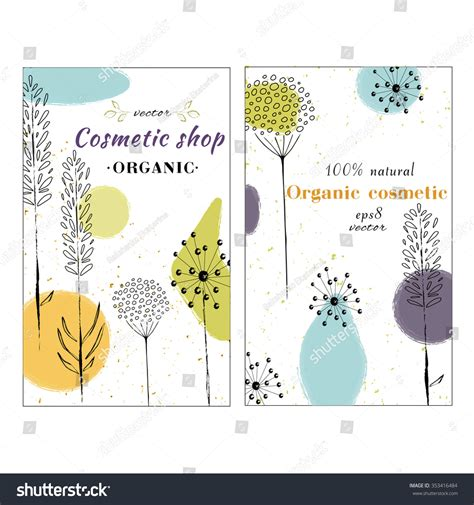 label design layout vector template label with hand draw flowers and herbs
