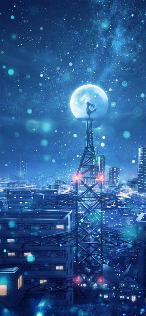 dream  wallpaper blue cityscape snowfall moon cold
