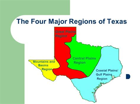 texas four regions map the four major regions of texas ppt
