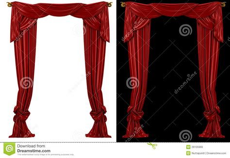 red and black window curtains red curtains on a black and white background royalty free