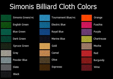 pool table felt colors pool table sizes