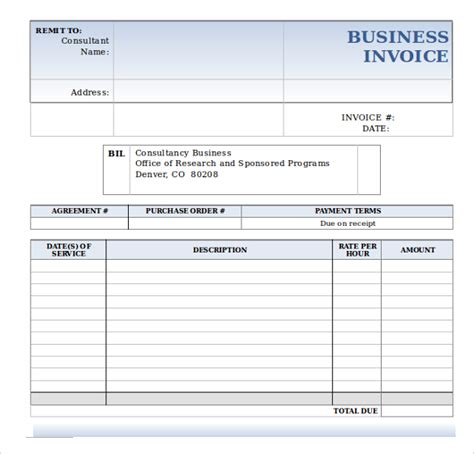 sample business invoice template 12 free documents in