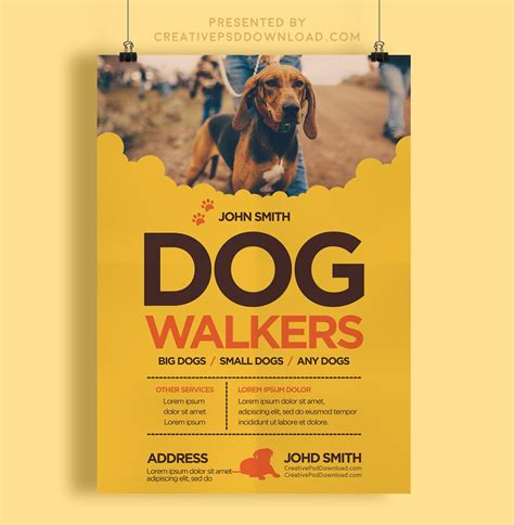 Creative Dog Walkers Flyer Template Walking Business Flyer Template