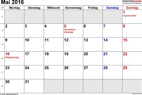 Kalender 2016 Mai Kalender Mai 2016 Als Excel Vorlagen