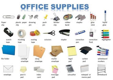 Office Supplies Synonym Learning With Pictures Office Business