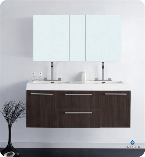 bathroom double sink cabinets 54 fresca opulento fvn8013go gray oak modern double
