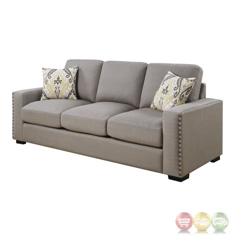 gray sofa with nailhead trim rosanna plush grey linen sofa with nailhead trim