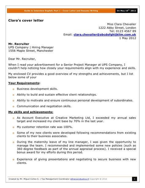 guide to interview english part 1 cover letter and resume