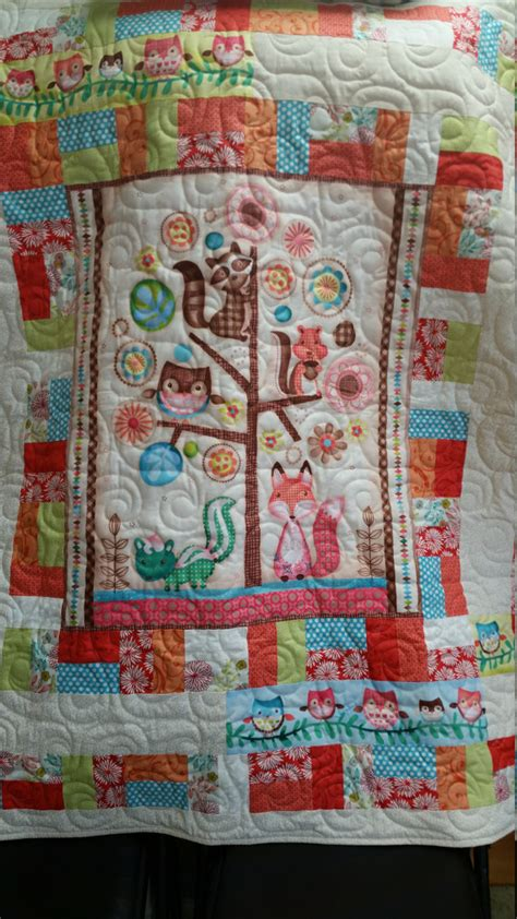 handmade forest friends crib size quilt baby forest friends