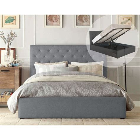 Marco Queen Size Gas Lift Fabric Bed Frame In Grey Buy Size Fabric Bed Frames