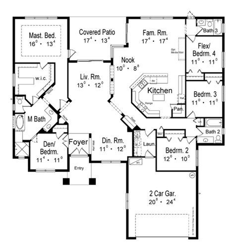bungalow house plan with 2672 square feet and 4 bedrooms mediterranean style house plan 5 beds 3 baths 2672 sq ft