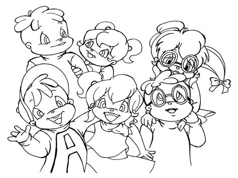 alvin and the chipmunks coloring pages realistic