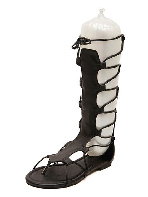 knee high lace up sandals black gladiator knee high lace up flat sandals choies