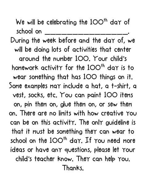 Parent Letter S Day 100th Day Parent Letter Classroom Ideas