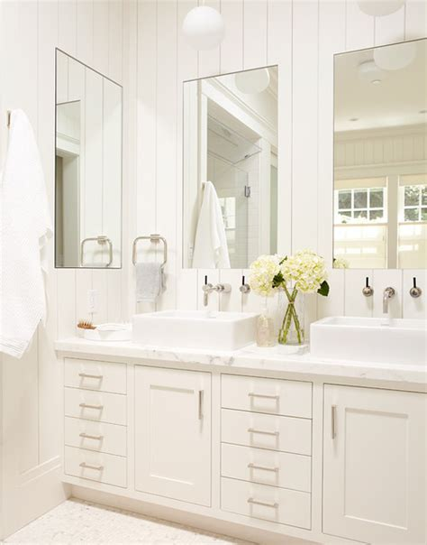master bathroom white vanity with two sinks and large