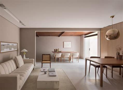 casa e design sala minimalista tem cores neutras e pe 231 as de design