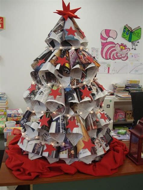 christmas tree made of newspaper library arts ad crafts
