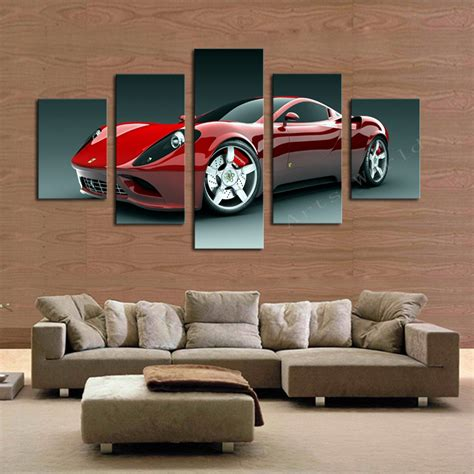 automotive home decor 5 pcs red sports car wall art picture home decoration