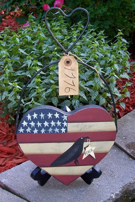 window primitive decor primitive americana wood flag crow heart hanger painted woodcrafts