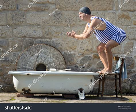 bathtub funny fat man retro swimsuit jumps outdoor stock photo 276334883