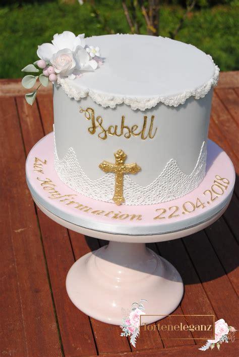 konfirmation torte maedchen mit gold titel  torteneleganz