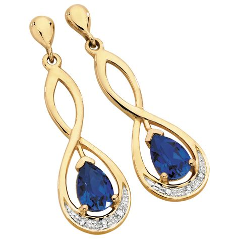 drop earrings with created sapphire diamonds in 10kt