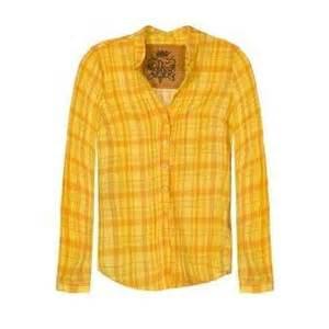 Yellow orange open collar plaid shirt thisnext