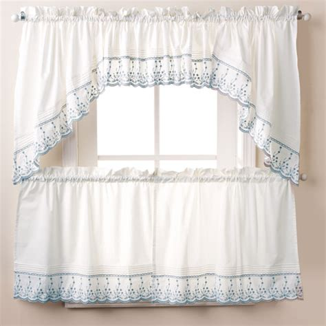 Kitchen Curtains Walmart Abby Kitchen Swag Tier Or Valance Wedgewood Walmart