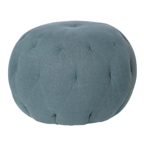blue round ottoman cisco brothers lana global bazaar firm denim blue linen