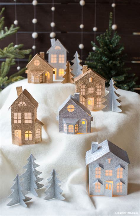 printable christmas village houses 3d paper christmas village lia griffith