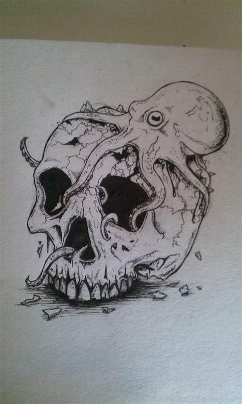skull octopus tattoo octopus skull by draggingballs on deviantart