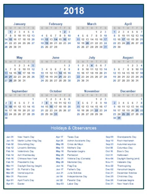printable calendar 2018 with bank holidays 2018 calendar with holidays printable usa uk canada