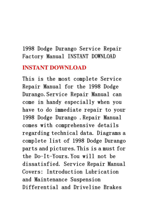 book repair manual 1998 dodge durango windshield wipe control 1998 dodge durango service repair factory manual instant download by jshefnmm mksejfn issuu