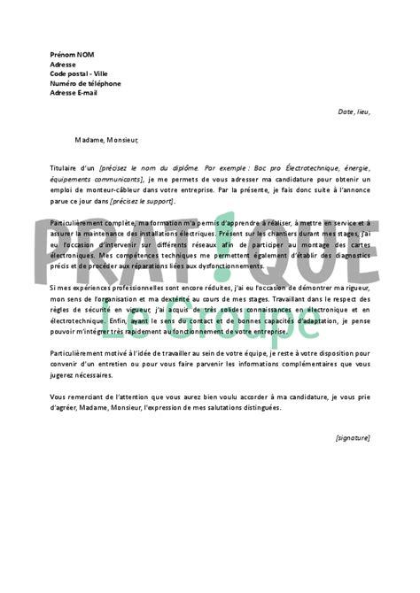 Lettre De Motivation De Electrotechnique Lettre De Motivation Pour Un Emploi De Monteur C 226 Bleur