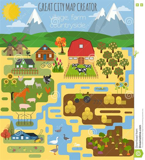 great city maps 0241238986 great city map creator village farm countryside agriculture stock vector illustration